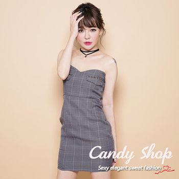 Candy小舖 露肩平口格紋合身短洋裝-黑色