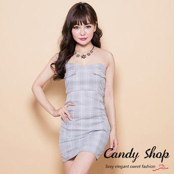 Candy小舖 露肩平口格紋合身短洋裝-灰色