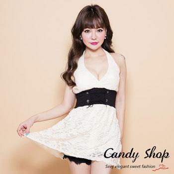 Candy小舖 蕾絲露背深V領上衣-杏色