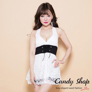 Candy小舖 蕾絲露背深 V 領上衣-白色