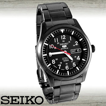 【SEIKO 精工】日版-黑鋼三眼計時腕錶(SNZG17J1)