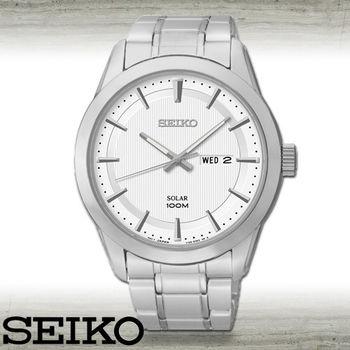 【SEIKO 精工】太陽能款_挑戰視覺色彩個性男錶(SNE359P1)