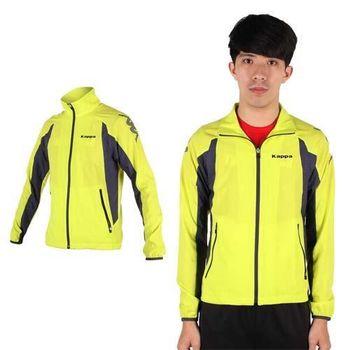 【KAPPA】男慢跑風衣外套-防風 路跑 立領 芥末綠