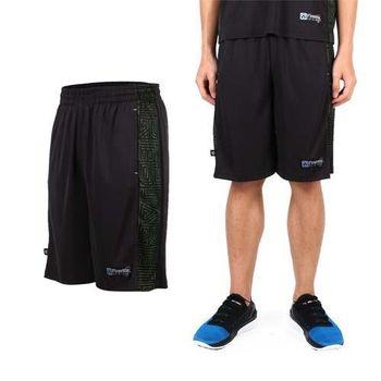 【FIRESTAR】男吸排籃球褲-運動短褲 休閒短褲 黑螢光綠