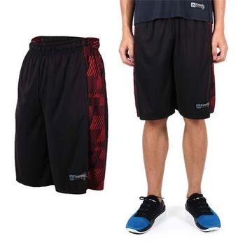 【FIRESTAR】男吸排籃球褲-運動短褲 休閒短褲 黑紅