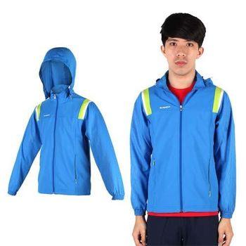 【KAPPA】男單層風衣外套-防風 慢跑 路跑 連帽外套 寶藍白