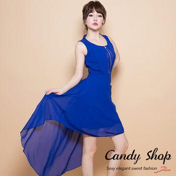 Candy小舖 前短後長蕾絲後背雪紡洋裝-藍色