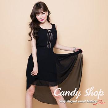 Candy小舖 前短後長蕾絲後背雪紡洋裝-黑色