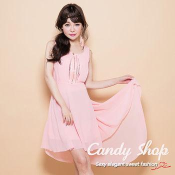 Candy小舖 前短後長蕾絲後背雪紡洋裝-粉色