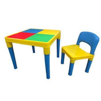 【孩子國 】單人遊戲積木桌椅組~送100顆小積木哦!!