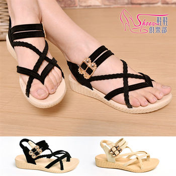 【ShoesClub】【118-1819】完美女神 交叉繞帶 絨毛鑲鑽 夾腳涼鞋.2色 黑/米