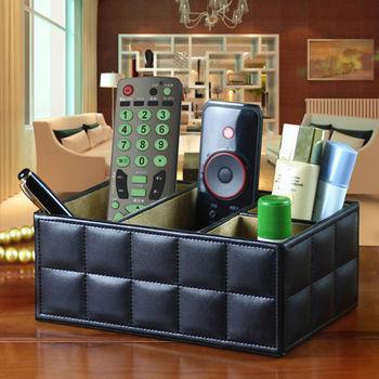 【幸福揚邑】精品歐式方格紋皮革遙控器化妝品飾品桌面收納盒-時尚黑