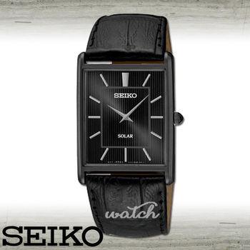 【SEIKO 精工】全黑狂潮_時尚方形太陽能紳士男錶(SUP881P1)