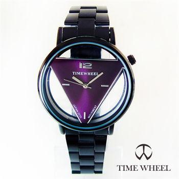 TIME WHEEL氣質名媛三角形鏤空錶面黑鋼帶錶