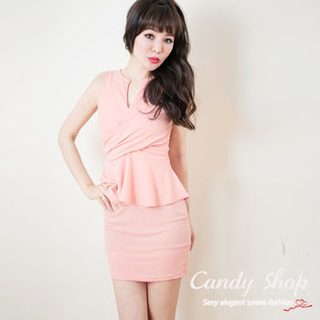 Candy小舖  氣質OL無袖連身短裙 - 粉色