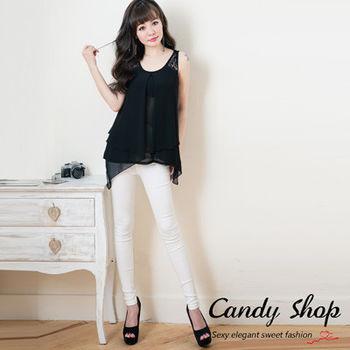 Candy小舖  休閒百搭修飾腰線身型長褲 - 白色