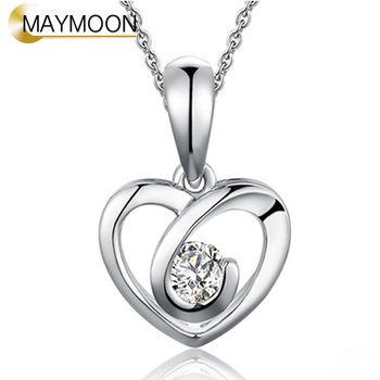 MAYMOON 18K白金十分愛你系列 真心天然鑽石墜鍊