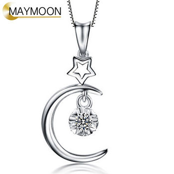 MAYMOON 18K白金十分愛你系列 星月相戀天然鑽石墜鍊