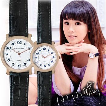TIME WHEEL數字立體面板晶鑽刻度皮錶