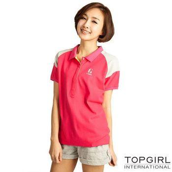 TOP-GIRL-長版造型POLO衫-蜜桃紅