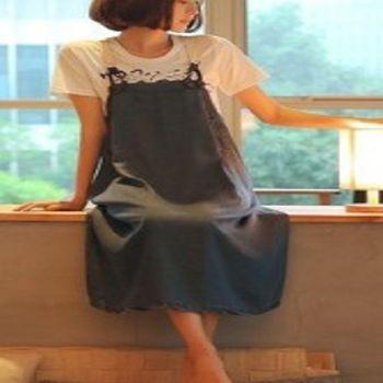 [協賀]復古寬鬆吊帶裙
