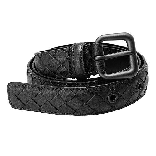 BOTTEGA VENETA 經典編織小牛皮腰帶/皮帶(黑色)