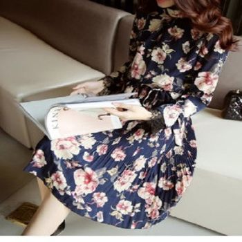[協賀]長袖雪紡連衣裙