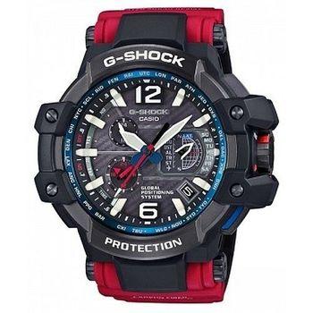G-SHOCK 世界首款同步搭載高性能GPS電波概念錶-黑X紅/56mm( GPW-1000RD-4A)