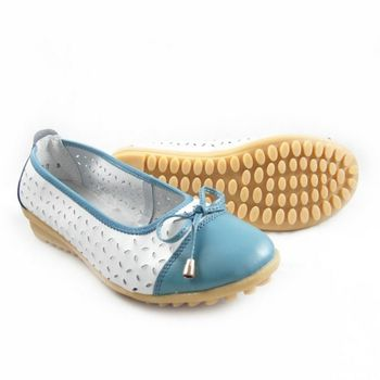 【Moscova】手工真皮系列 甜美風縷空蝴蝶結裝飾休閒女鞋-藍色
