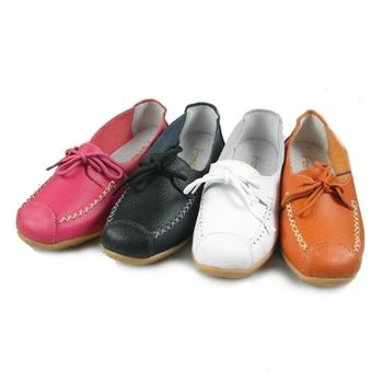 【Moscova】手工真皮系列。素色拼接綁帶裝飾真皮鞋-橘色