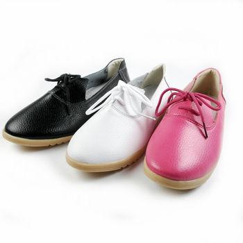 【Moscova】手工真皮系列。牛津綁帶休閒鞋-白色