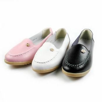 【Moscova】手工真皮系列。素色玫瑰裝飾休閒鞋