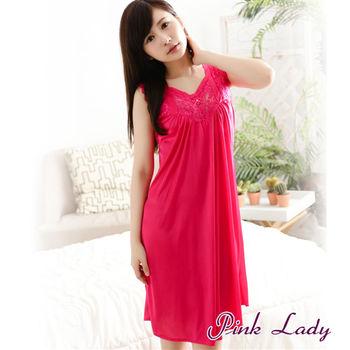【PINK LADY】華麗巴洛克風格~微透珍珠絲連身睡裙9001(玫紅