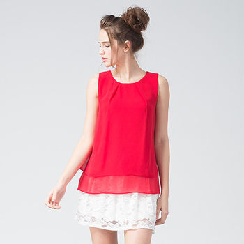 IFOREST 好氣色輕柔雙摺雪紡上衣(紅色)15131