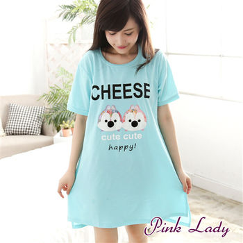 【PINK LADY】微笑小情侶可愛花栗鼠 短袖睡裙522(藍色)