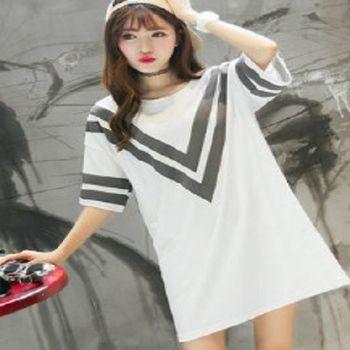 [協賀]純棉寬鬆中長款T恤