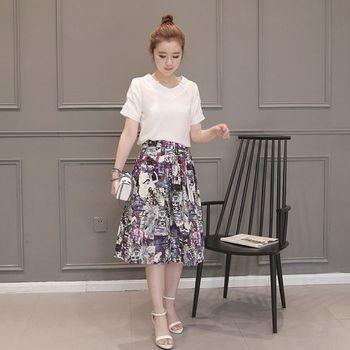 (現貨+預購 RN-girls)-韓國夏季新款時尚休閒純色上衣+寬鬆印花褲裙套裝