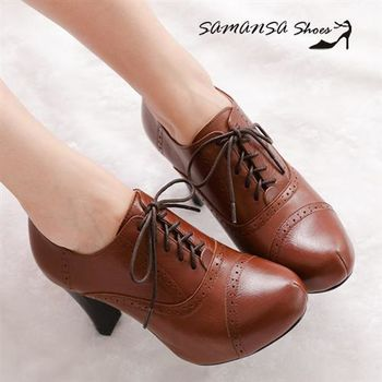莎曼莎手工鞋【MIT全真皮】英倫學院風格內增高繫帶牛津短踝靴 #14404 復古棕