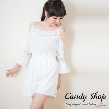 Candy小舖  氣質細肩連身喇叭袖邊緣碎花短褲 - 白色