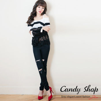 Candy小舖  率性休閒低腰刷破牛仔褲 - 黑色