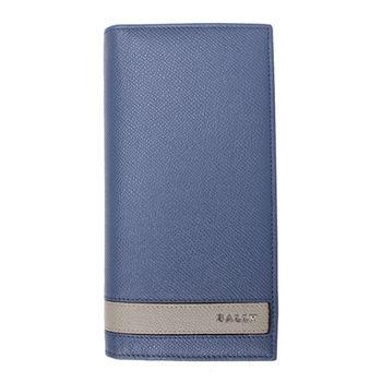 BALLY 灰條紋防刮皮革對折長夾(水藍)