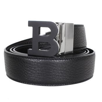 BALLY 大Blogo雙色雙面皮革皮帶/外黑內咖(SIZE:110CM)