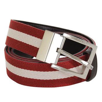 BALLY 紅白帆布皮革皮帶-3段尺寸(95/100/110CM)