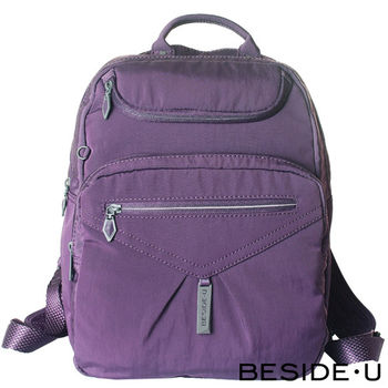 BESIDE-U - UNIDENTIFIED系列簡約時尚輕巧後背包 - 黑莓紫