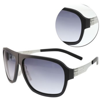【ic!berlin】德國薄鋼漸層藍色黑膠框太陽眼鏡(Power Law-Chrome)