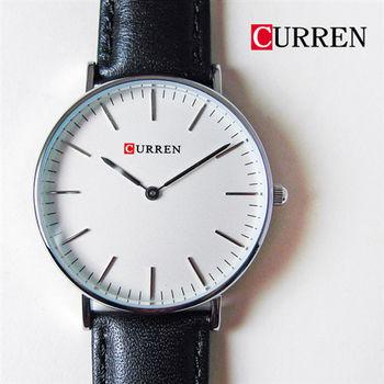 CURREN經典簡約刻度質感情侶對錶皮錶