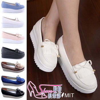 【ShoesClub】【023-A616】台灣製MIT 流蘇蝴蝶結厚底娃娃鞋.4色 粉/白/牛仔藍/黑