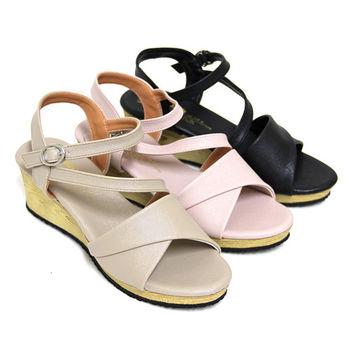 【Pretty】氣質繫踝仿木紋楔型涼鞋-粉紅、米色、黑色