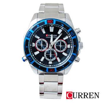 CURREN酷炫時尚賽車三眼造型鋼帶錶8184