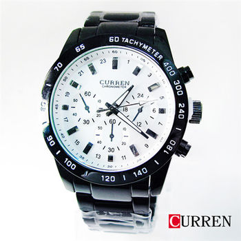 CURREN時尚潮流三眼造型黑鋼帶錶8017